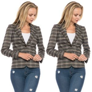 Jackets & Blazers - PLAID BLAZER WITH BROWN ELBOW PATCHES